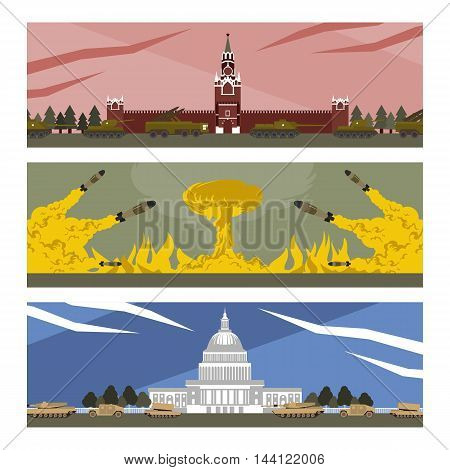 flat banners cold war in vector format eps10