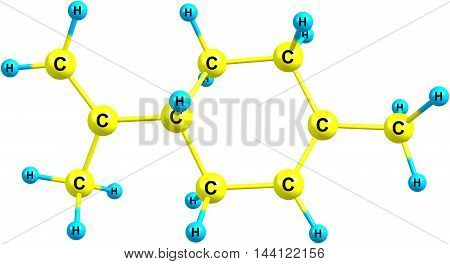 Limonene is a colorless hydrocarbon classified as a cyclic terpene. The common d-isomer possesses a strong smell of oranges. It is used in chemical synthesis as a precursor to carvone. 3d illustration