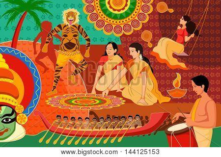 vector illustration of Happy Onam festival celebration background