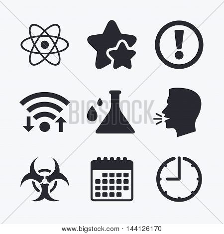 Attention and biohazard icons. Chemistry flask sign. Atom symbol. Wifi internet, favorite stars, calendar and clock. Talking head. Vector