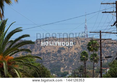 LOS ANGELES - AUGUST 18: Hollywood sign on August 18, 2014 in Los Angeles. The sign, located in Mount Lee, spells out the name of the area in 45-foot-tall and 350-foot-long white letters