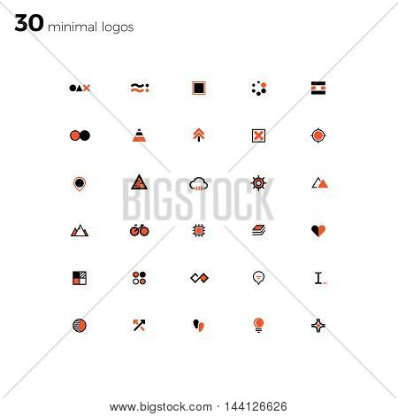 Minimal logos and badges big collection. Line style. Modern and minimalism syled vector logos for multiple use.