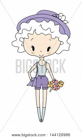 Illustration of vector little girl doll. Little girl with flowers