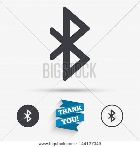 Bluetooth sign icon. Mobile network symbol. Data transfer. Flat icons. Buttons with icons. Thank you ribbon. Vector