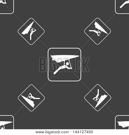 Hang-gliding Sign. Seamless Pattern On A Gray Background. Vector