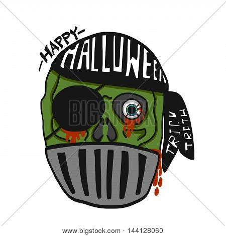 Happy Halloween pirate zombie cartoon illustration on white background