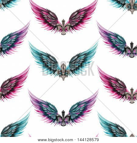 Seamless pattern of logos, symbols in the form of wings and heraldic lilies, hand drawn in a watercolor on a white background