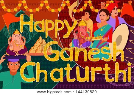 vector illustration of Happy Ganes Chaturthi festival celebration background