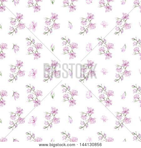 Seamless floral pattern with fine magnolias painted with watercolors on white background
