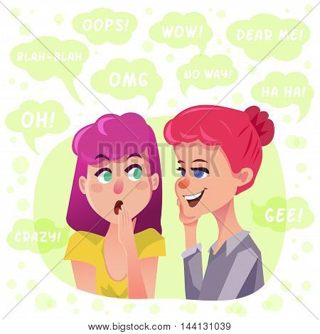 Gossip girls illustration. Two women surrounded by speech bubbles. Funny character design.