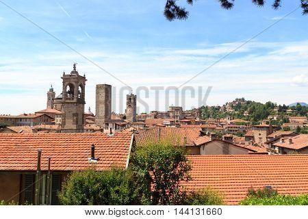 Panorama Of Upper City Citta Alta With Hill San Vigilio And Towers In Bergamo, Italy