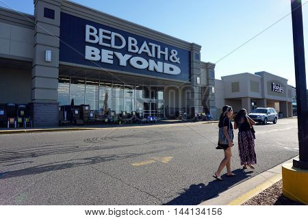 PETOSKEY, MICHIGAN / UNITED STATES - AUGUST 2, 2016: Bed Bath & Beyond offers a.varied selection of home goods, including bedding, kitchenware, towels & decor items, in Petoskey's Bay Mall.