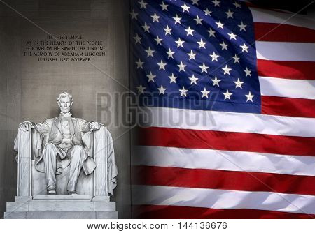 Lincoln Memorial in Washington and American flag. Suitable for President's day, national freedom day, 4th of july, and similar festivities.