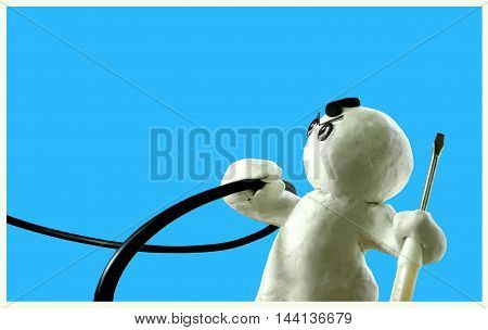 Electricity Repair Man Sculpture I solate and clipping path on Blue Clay Floating Sculpture Acting Design of work good job