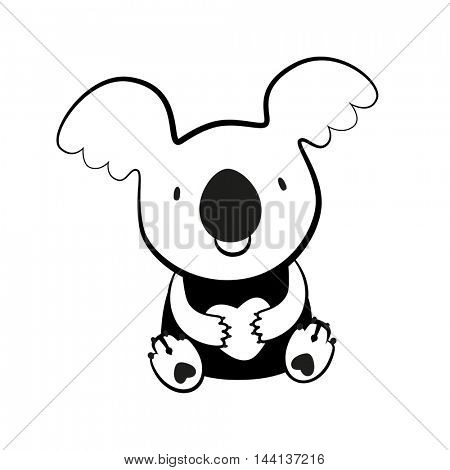 Koala Bear. Sketch of cute Australian bear with a heart. Vector Illustration.