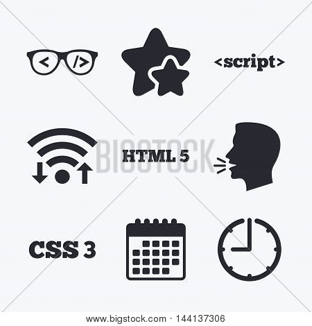 Programmer coder glasses icon. HTML5 markup language and CSS3 cascading style sheets sign symbols. Wifi internet, favorite stars, calendar and clock. Talking head. Vector