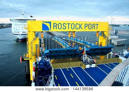 Ferry in the port of Rostock (Germany).