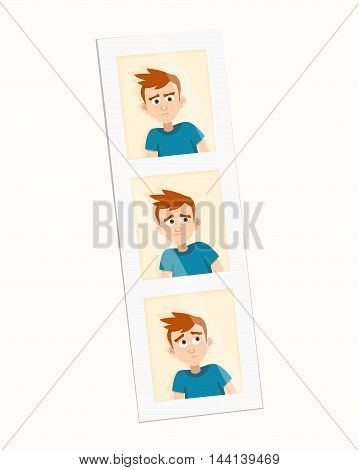 Three instant photos of a teenager on one strip. vector illustration. Boy emotions and avatar boy characters emotions. Faces vector characters of young man expressing different emotions icons.
