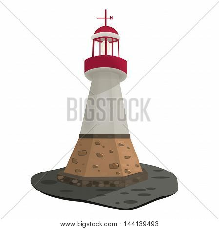 Searchlight towers for maritime navigational guidance, vector illustration, of a stone lighthouse on the island