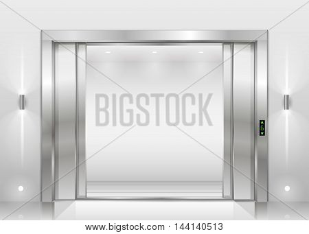 Open the door of the freight elevator hospital or office building. Metal armored sliding door.