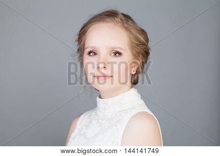 Cute Face of Young Girl with Clean Skin. Beauty Portrait. Beautiful Spa Woman Smiling