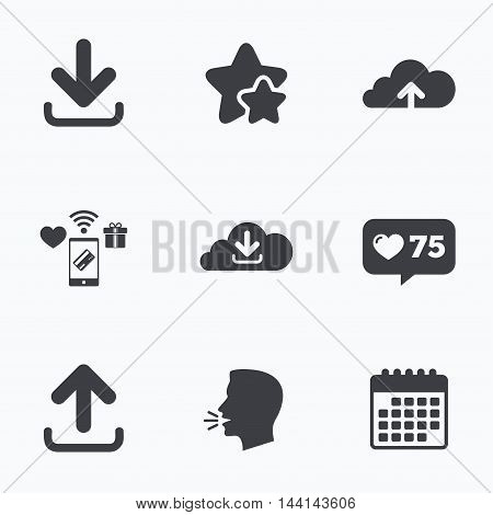 Download now icon. Upload from cloud symbols. Receive data from a remote storage signs. Flat talking head, calendar icons. Stars, like counter icons. Vector