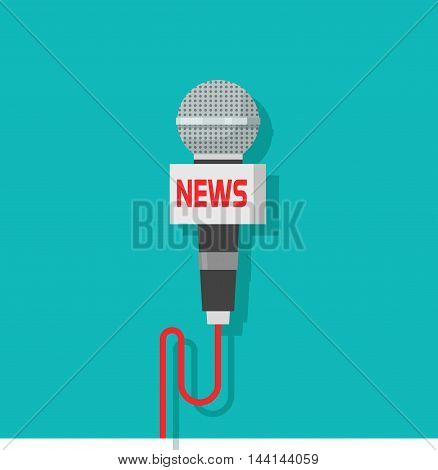 Microphone vector icon isolated on blue color background, flat mic with news text
