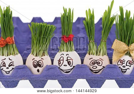 Eggs with painted faces isolated over white background