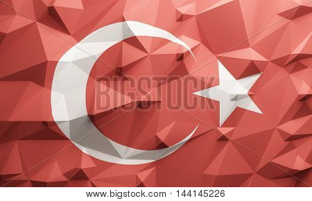 Low poly illustrated Turkish flag. 3d rendering.