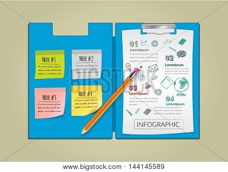 Creative report on notepaper infographic with pencil.