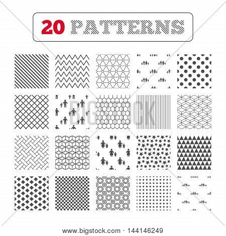 Ornament patterns, diagonal stripes and stars. Large family with children icon. Parents and kids symbols. One-parent family signs. Mother and father divorce. Geometric textures. Vector