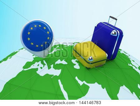 Low poly illustrated travel concept. 3d rendering. Travel to EU. Luggages and EU flag pin on globe.