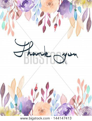 Frame border, template for postcard with purple and tender pink flowers and branches with the vinous leaves painted in watercolor  on a white background, greeting card, decoration postcard or invitation with inscription Thank you