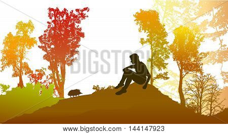 Autumn forest with deciduous trees and silhouette of a boy with hedgehog. Panoramic forest landscape in autumn colors with sitting boy and silhouette of a hedgehog
