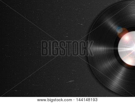 Realistic long-playing LP vinyl record. Vintage vector vinyl gramophone record on dark grunge backdrop. Retro music poster, place for text. Illustration for banner, flyer, billboard concerts, web
