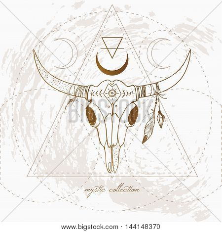 retro styled illustration of a bull skull, vintage bpho card with cow skull
