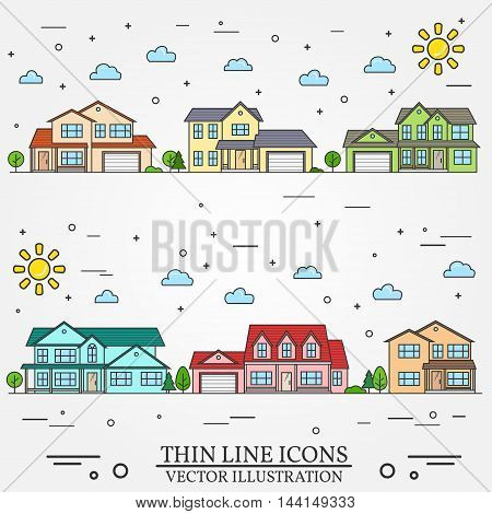 Neighborhood with homes illustrated on white background. Vector thin line icon suburban american houses day. For web design and application interface, also useful for infographics.