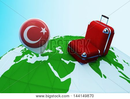 Low poly illustrated travel concept. 3d rendering. Travel to Turkey. Luggages and Turkey flag pin on globe.