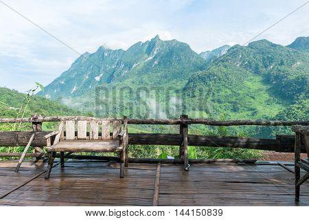 Wooden chair on balcony at Doi Luang Chiang Dao Chiang Mai (Thailand)
