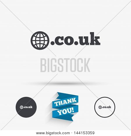 Domain CO.UK sign icon. UK internet subdomain symbol with globe. Flat icons. Buttons with icons. Thank you ribbon. Vector