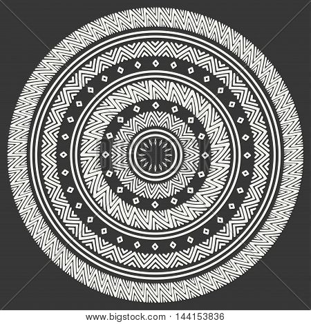Ethnic mandala. Tribal hand drawn line geometric seamless pattern. Border. Doodles. Native vector illustration. Background. African, mexican, indian, oriental ornament Henna tattoo style Circle