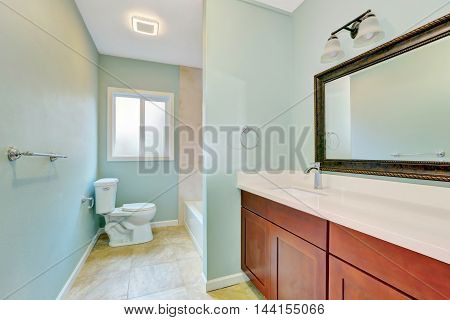 Light Blue Remodeled Bathroom With Wooden Vanity Cabinet.