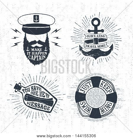 Hand drawn textured vintage labels set with captain anchor lifebuoy letter in a bottle vector illustrations and inspirational lettering.