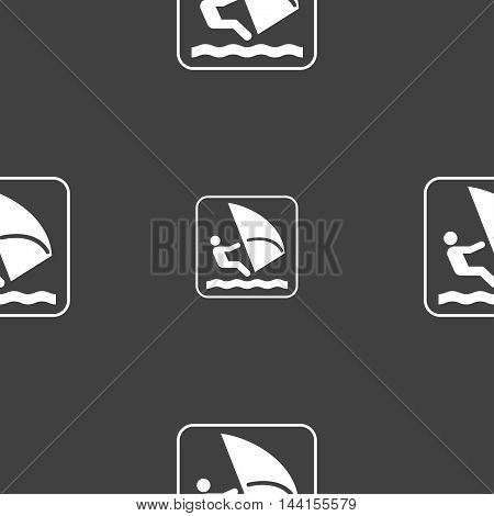 Windsurfing Sign. Seamless Pattern On A Gray Background. Vector