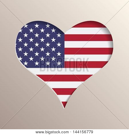 Multilayer 3D like picture of heart with USA flag on background