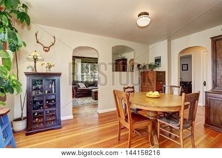 Old House Interior. Dining Room With Antique Furniture