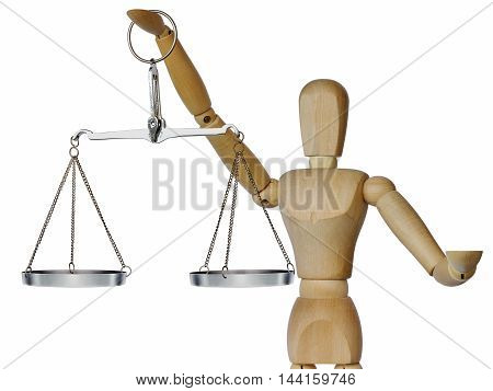 Wooden mannequin holds in his outstretched hand weights on a white background
