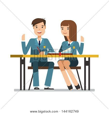 Couple of smiling teenagers young students in school uniform at the desk. Happy schoolboy and schoolgirl sitting and raised his hand in the classroom. Vector illustration of education concept