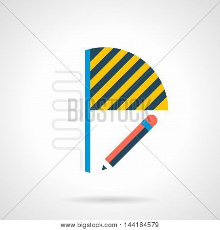 House renovation service. Installing of heated floor on balcony or loggia. Abstract symbol with pencil, laminate and section with pipes. Single flat color design vector icon.