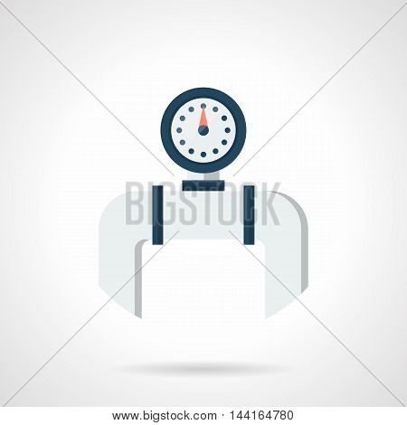 Round blue manometer on gray pipe. Element of pipeline. Home water heating system parts and equipment. Single flat color design vector icon.